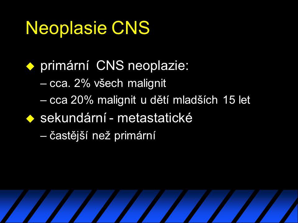 Neoplasie CNS primární CNS neoplazie: sekundární - metastatické