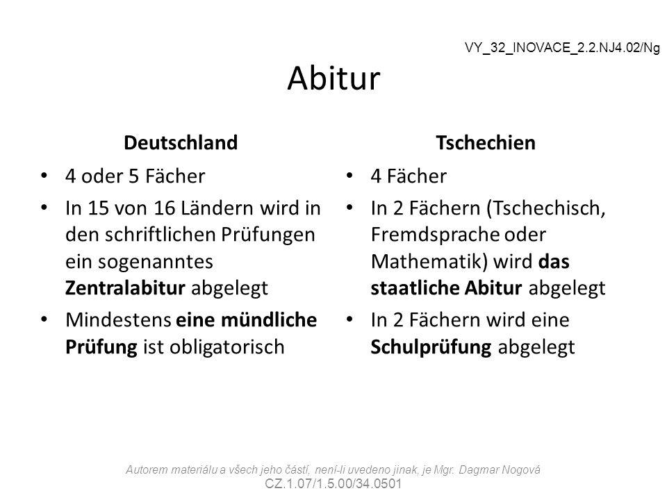 Abitur Deutschland Tschechien 4 oder 5 Fächer