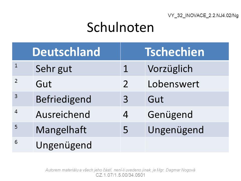 Schulnoten Deutschland Tschechien Sehr gut Vorzüglich Gut Lobenswert