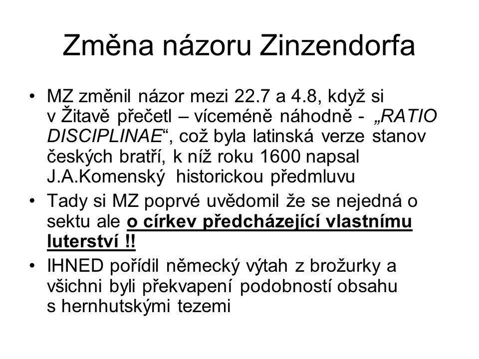 Změna názoru Zinzendorfa