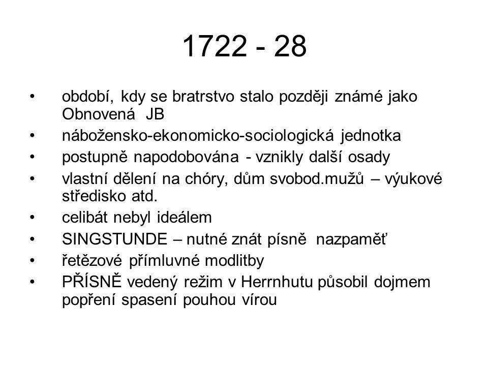 1722 - 28 období, kdy se bratrstvo stalo později známé jako Obnovená JB. nábožensko-ekonomicko-sociologická jednotka.