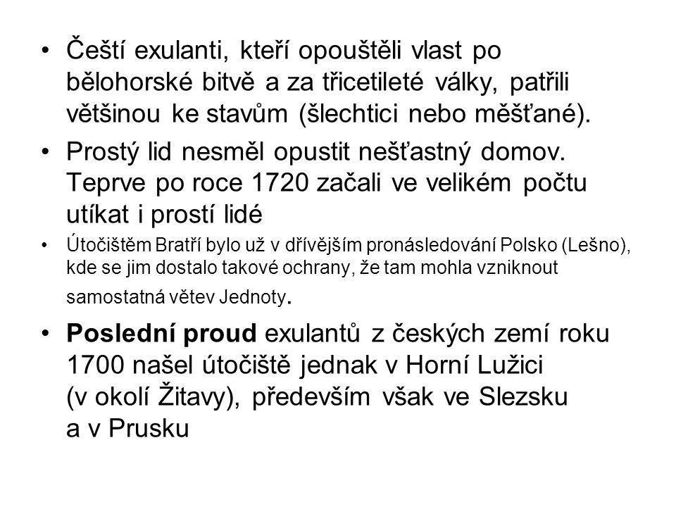 Čeští exulanti, kteří opouštěli vlast po bělohorské bitvě a za třicetileté války, patřili většinou ke stavům (šlechtici nebo měšťané).