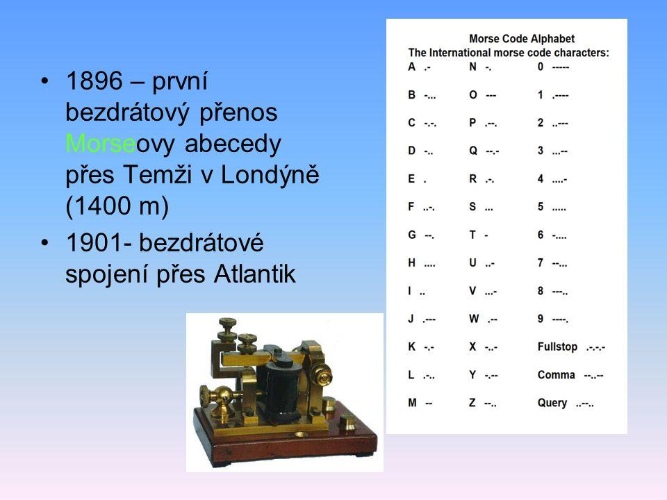 1896 – první bezdrátový přenos Morseovy abecedy přes Temži v Londýně (1400 m)