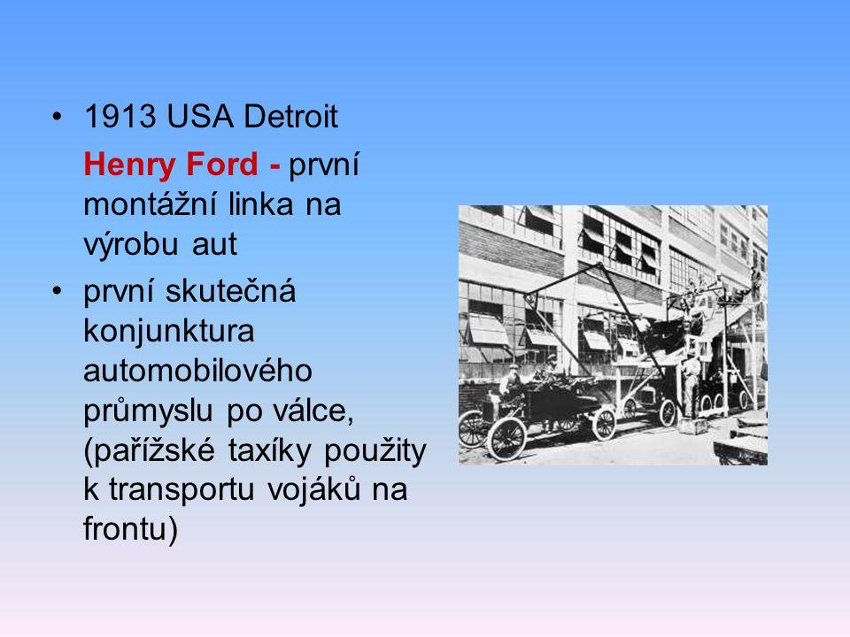 1913 USA Detroit Henry Ford - první montážní linka na výrobu aut.