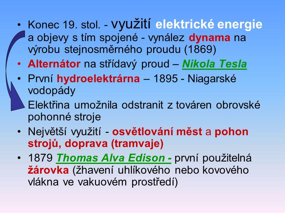 Konec 19. stol. - využití elektrické energie a objevy s tím spojené - vynález dynama na výrobu stejnosměrného proudu (1869)