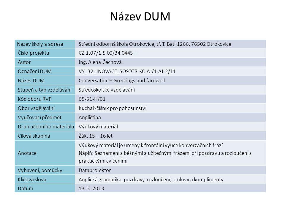 Název DUM Název školy a adresa