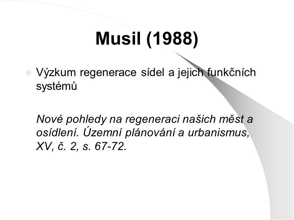 Musil (1988) Výzkum regenerace sídel a jejich funkčních systémů