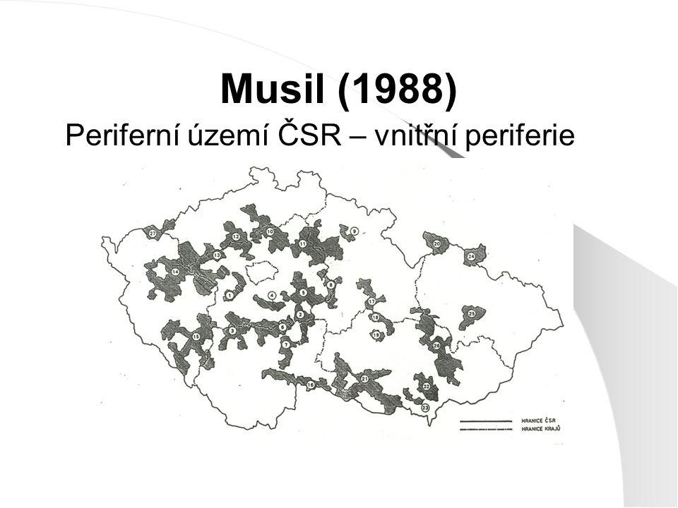 Musil (1988) Periferní území ČSR – vnitřní periferie