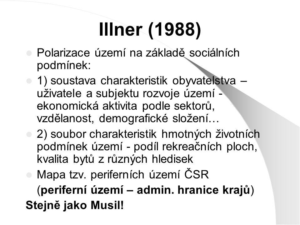 Illner (1988) Polarizace území na základě sociálních podmínek: