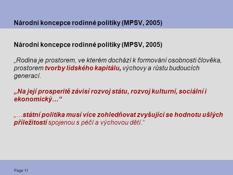 Národní koncepce rodinné politiky (MPSV, 2005)