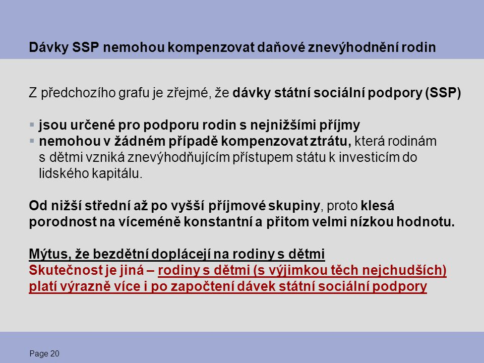 Dávky SSP nemohou kompenzovat daňové znevýhodnění rodin