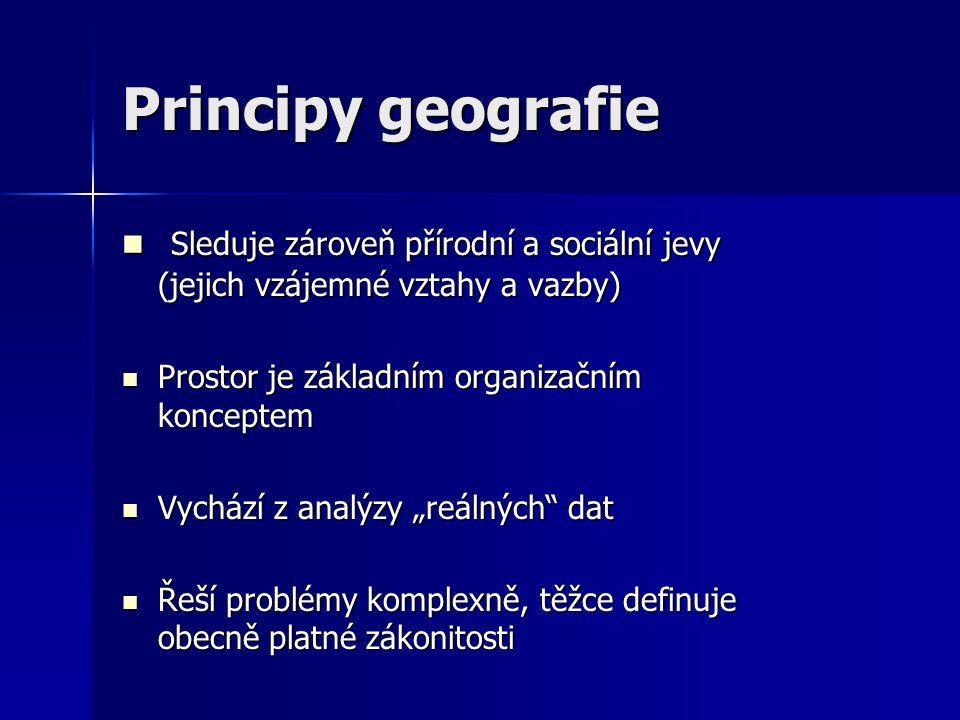 Principy geografie Sleduje zároveň přírodní a sociální jevy (jejich vzájemné vztahy a vazby) Prostor je základním organizačním konceptem.
