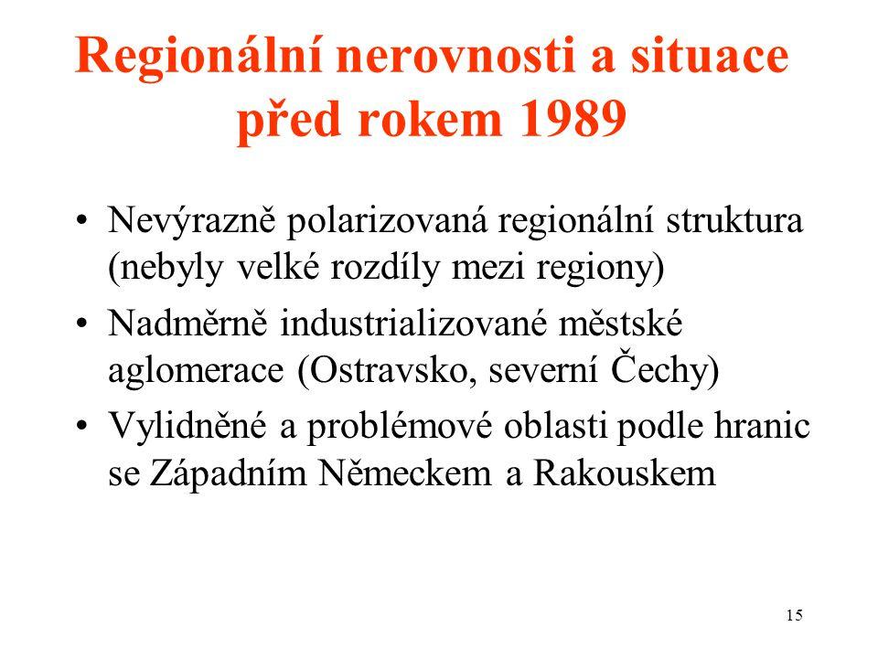Regionální nerovnosti a situace před rokem 1989