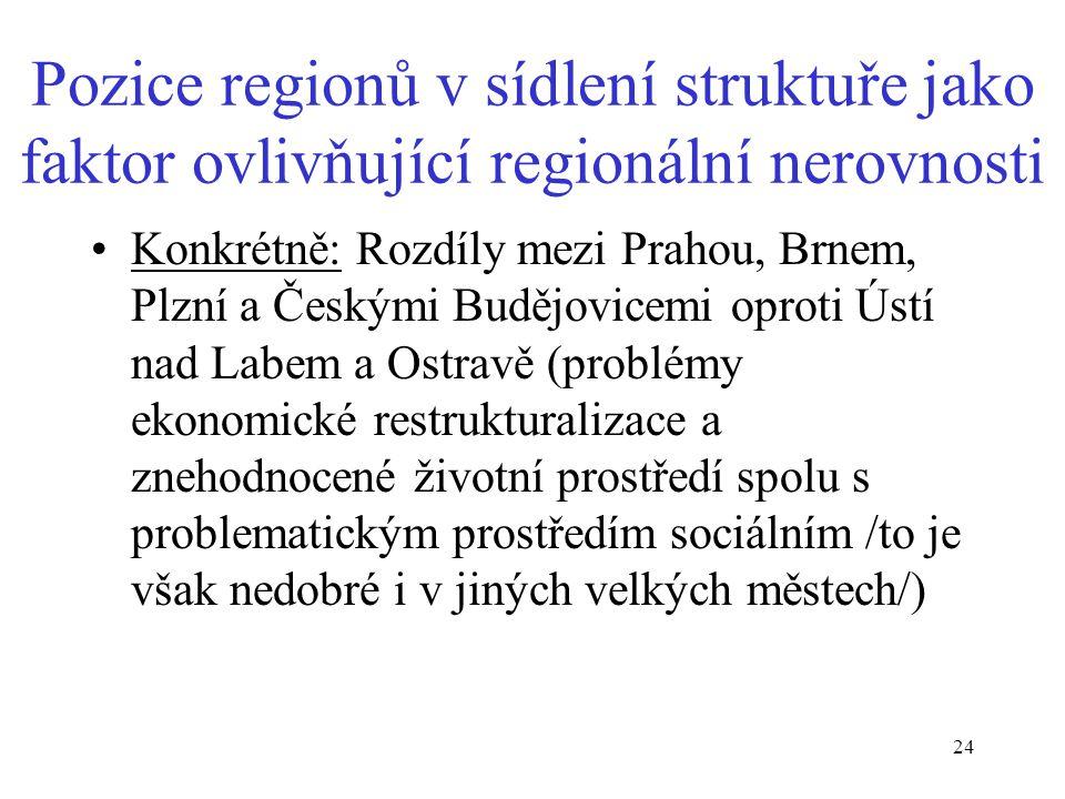 Pozice regionů v sídlení struktuře jako faktor ovlivňující regionální nerovnosti