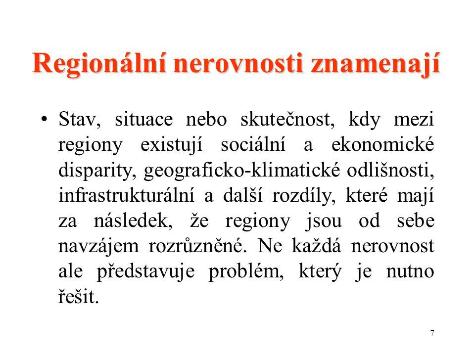 Regionální nerovnosti znamenají