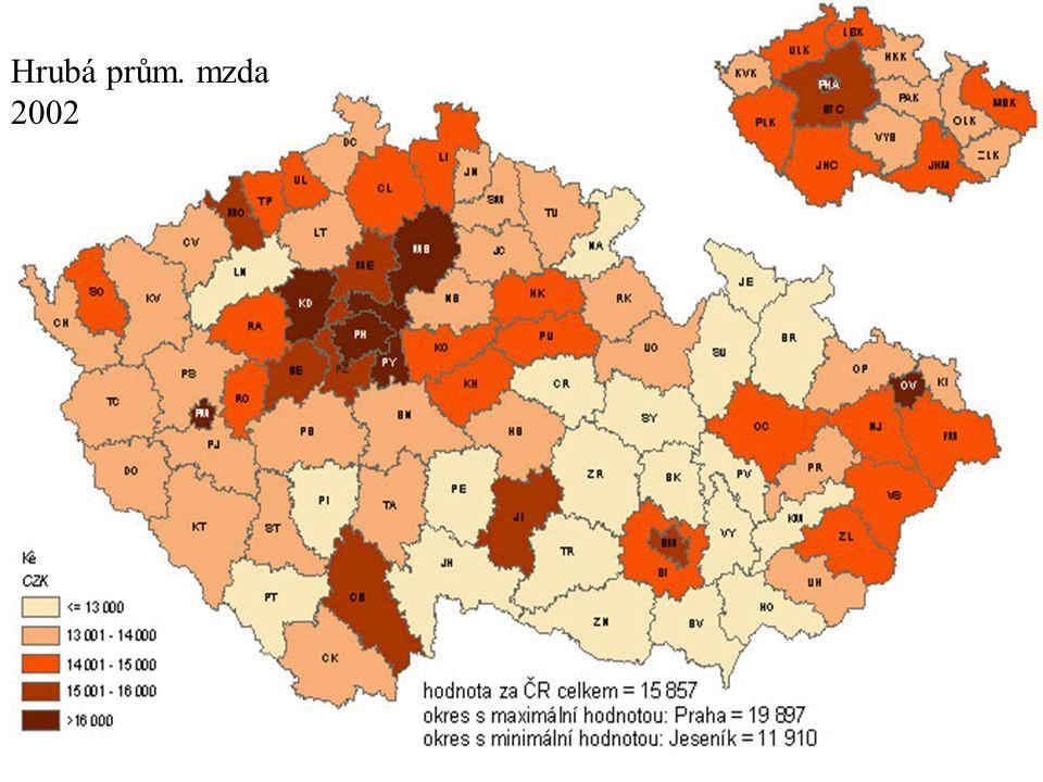 Hrubá prům. mzda 2002