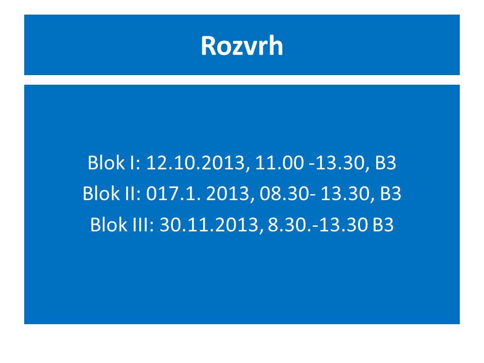 Rozvrh Blok I: 12.10.2013, 11.00 -13.30, B3 Blok II: 017.1.