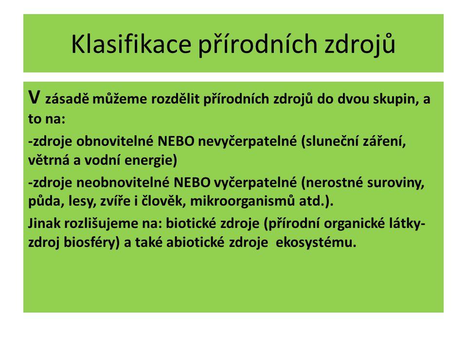 Klasifikace přírodních zdrojů