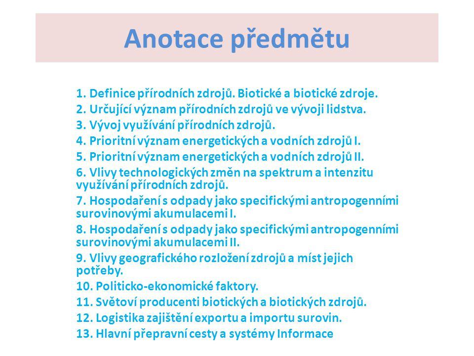 Anotace předmětu 1. Definice přírodních zdrojů. Biotické a biotické zdroje. 2. Určující význam přírodních zdrojů ve vývoji lidstva.