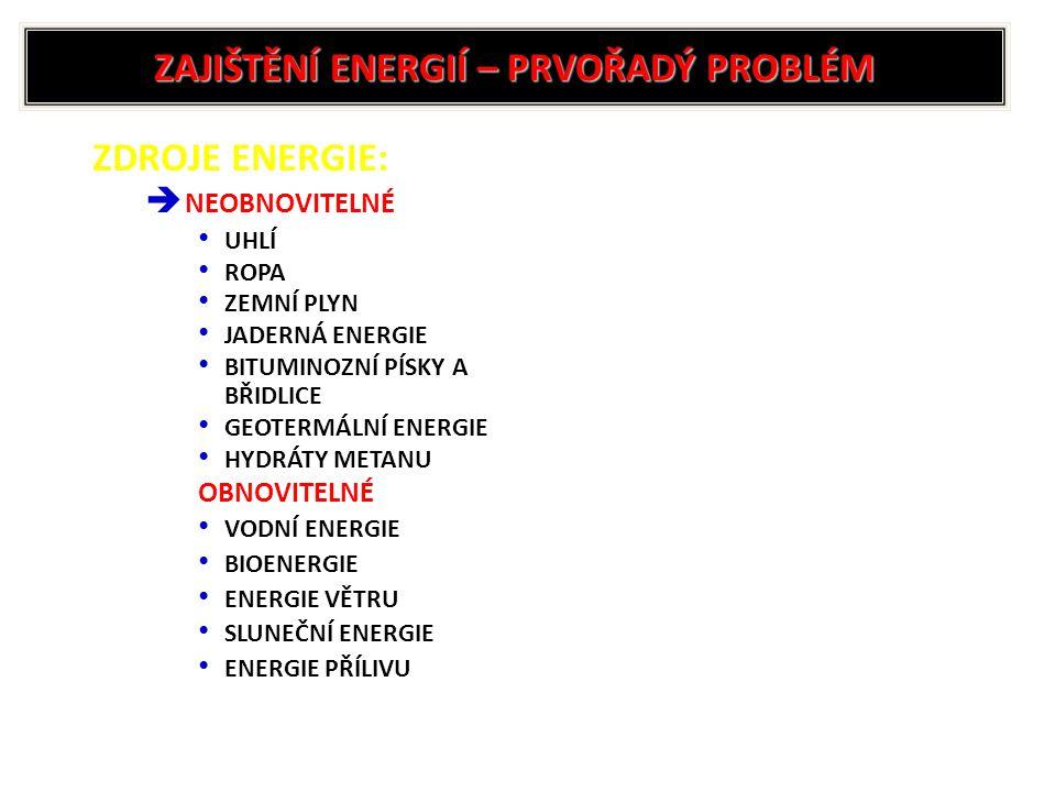 ZAJIŠTĚNÍ ENERGIÍ – PRVOŘADÝ PROBLÉM