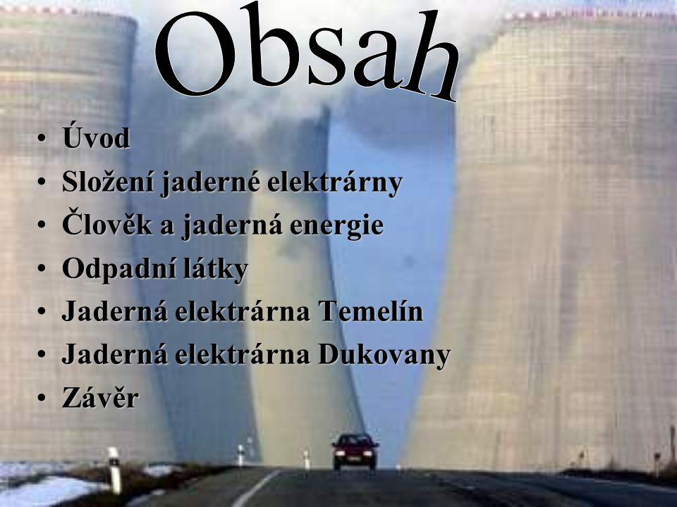 Obsah Úvod Složení jaderné elektrárny Člověk a jaderná energie