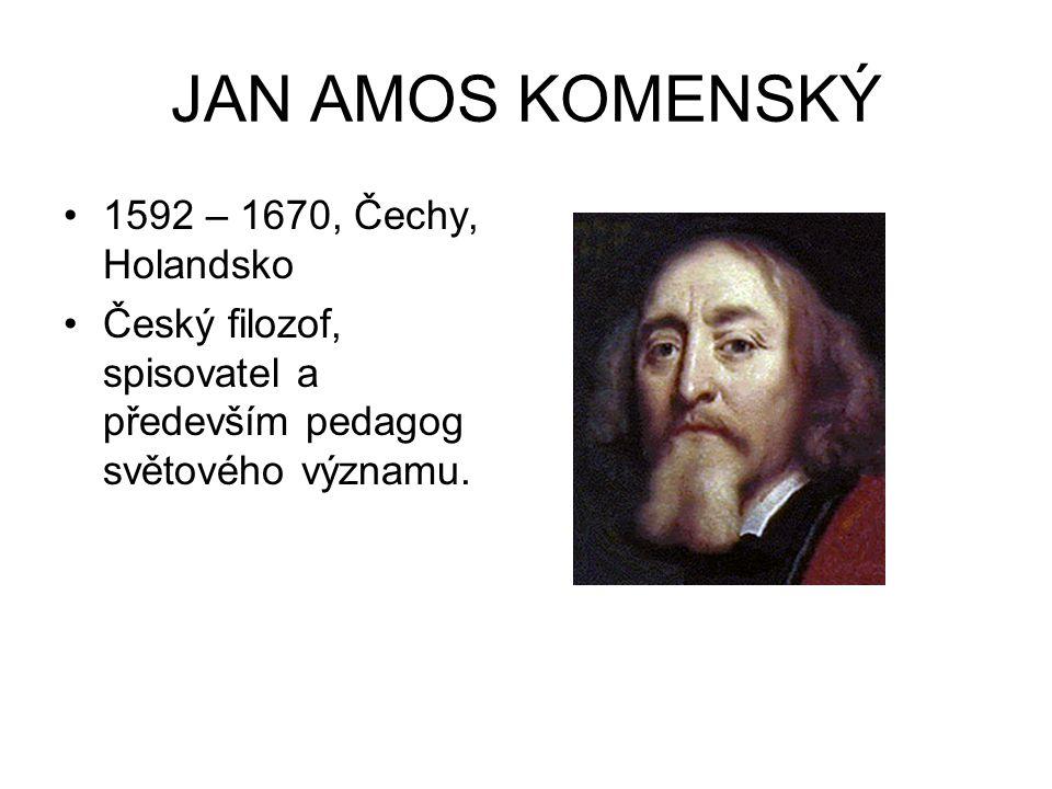 JAN AMOS KOMENSKÝ 1592 – 1670, Čechy, Holandsko