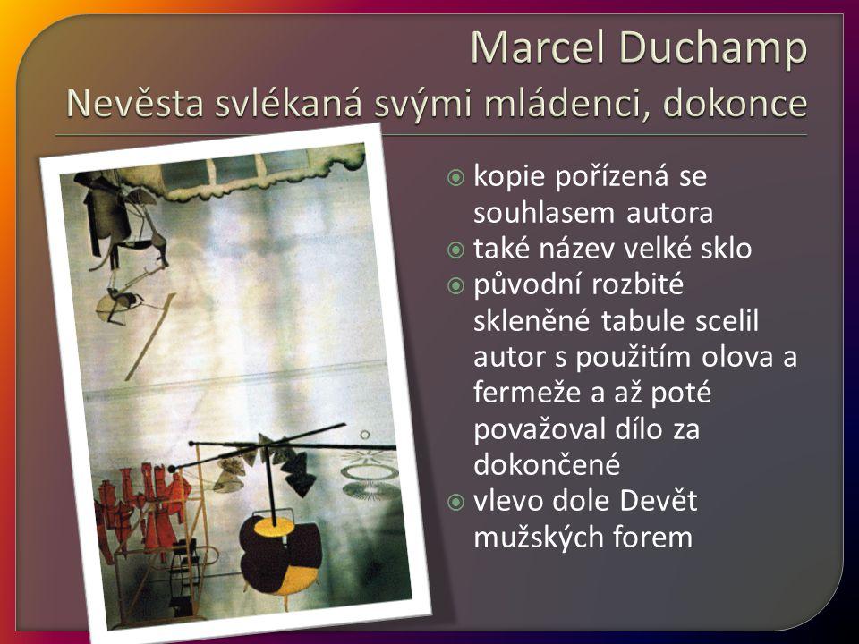 Marcel Duchamp Nevěsta svlékaná svými mládenci, dokonce