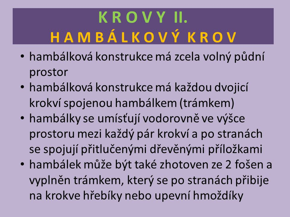 K R O V Y II. H A M B Á L K O V Ý K R O V