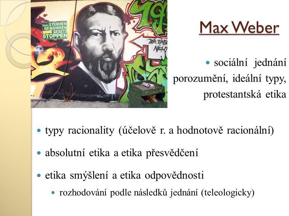 Max Weber sociální jednání porozumění, ideální typy,
