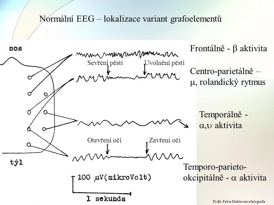 Normální EEG – lokalizace variant grafoelementů