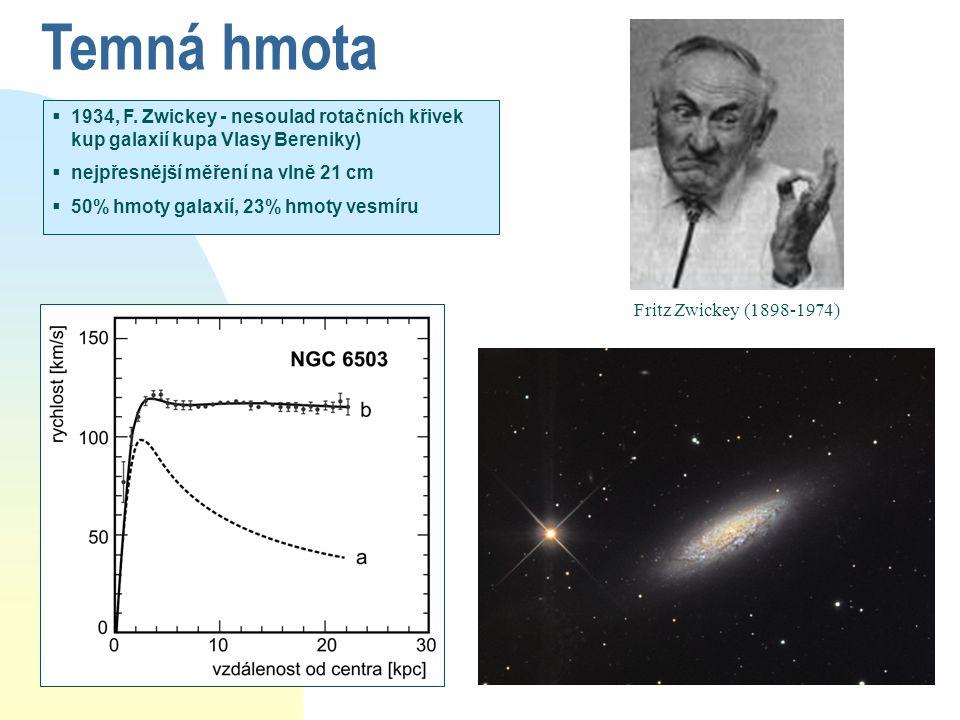 Temná hmota 1934, F. Zwickey - nesoulad rotačních křivek kup galaxií kupa Vlasy Bereniky) nejpřesnější měření na vlně 21 cm.