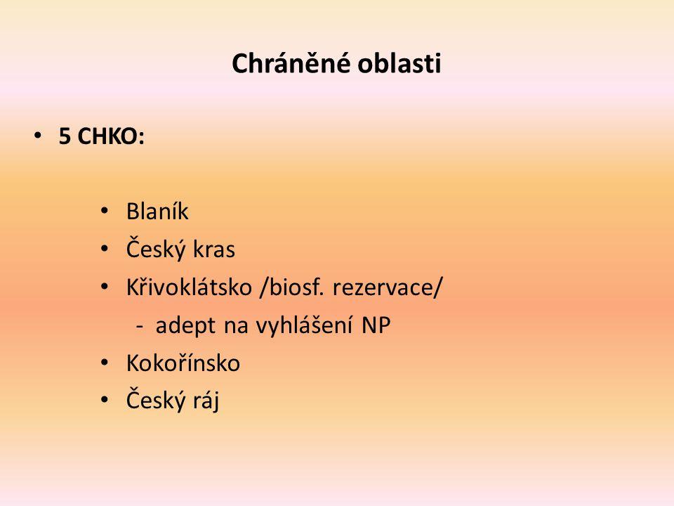 Chráněné oblasti 5 CHKO: Blaník Český kras