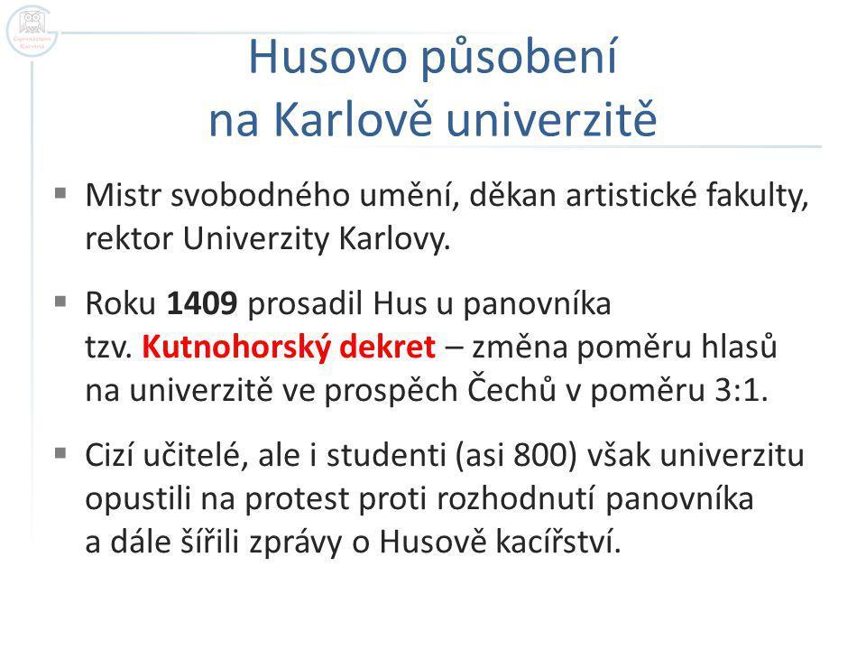Husovo působení na Karlově univerzitě
