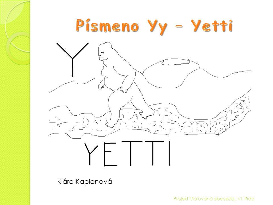 Písmeno Yy – Yetti Klára Kaplanová Projekt Malovaná abeceda, VI. třída