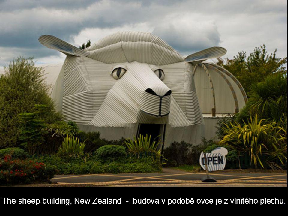 The sheep building, New Zealand - budova v podobě ovce je z vlnitého plechu.