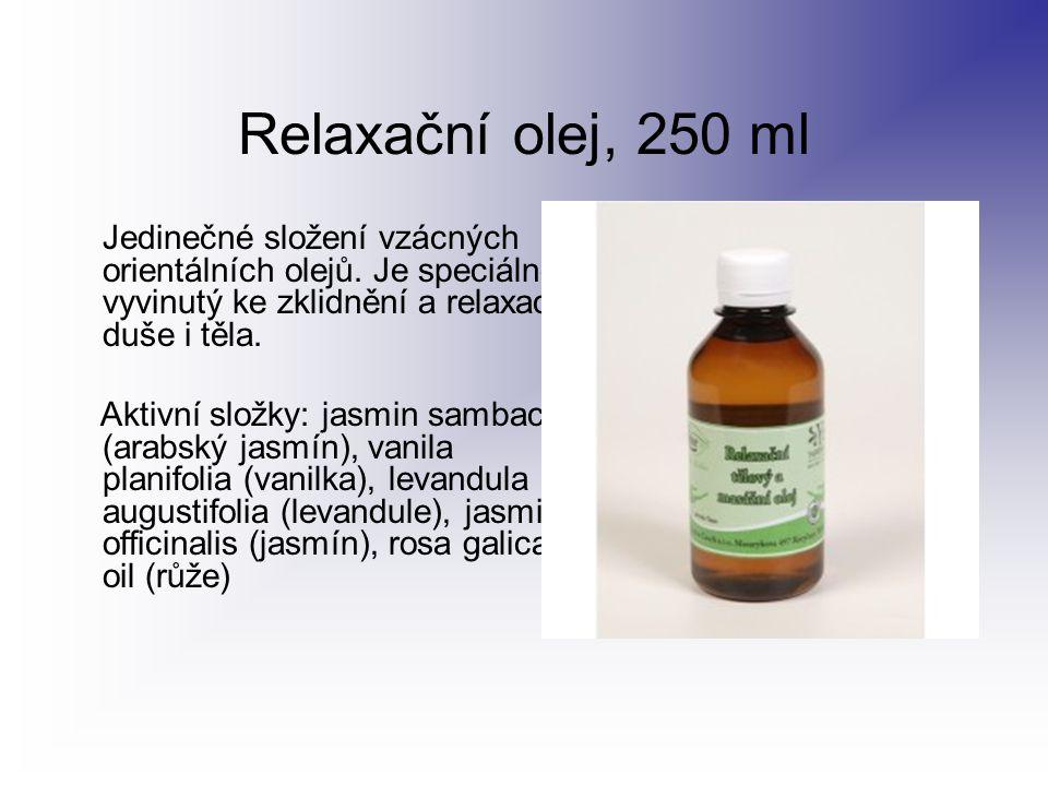 Relaxační olej, 250 ml Jedinečné složení vzácných orientálních olejů. Je speciálně vyvinutý ke zklidnění a relaxaci duše i těla.