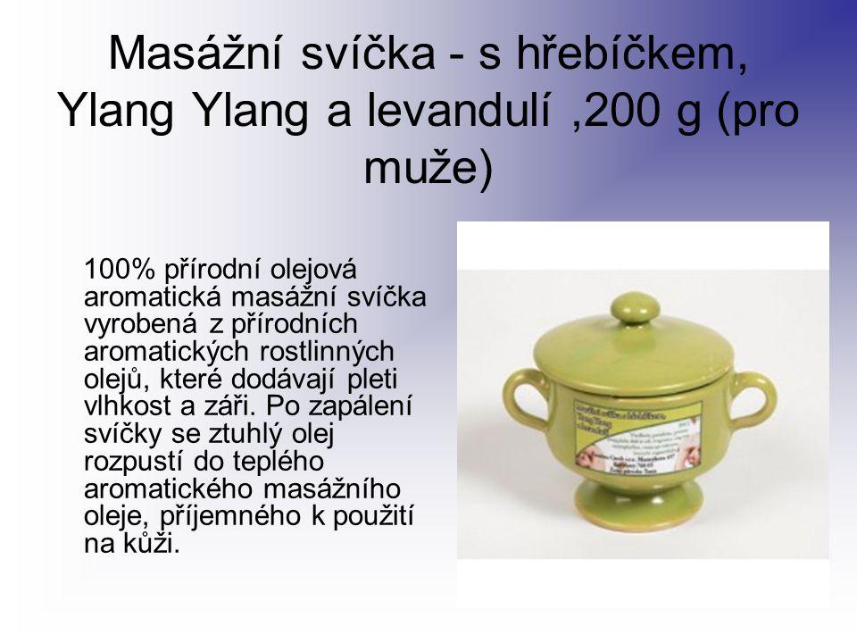 Masážní svíčka - s hřebíčkem, Ylang Ylang a levandulí ,200 g (pro muže)