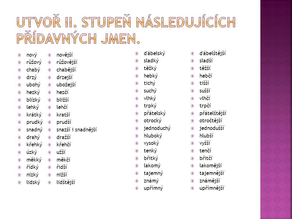 Utvoř II. stupeň následujících přídavných jmen.