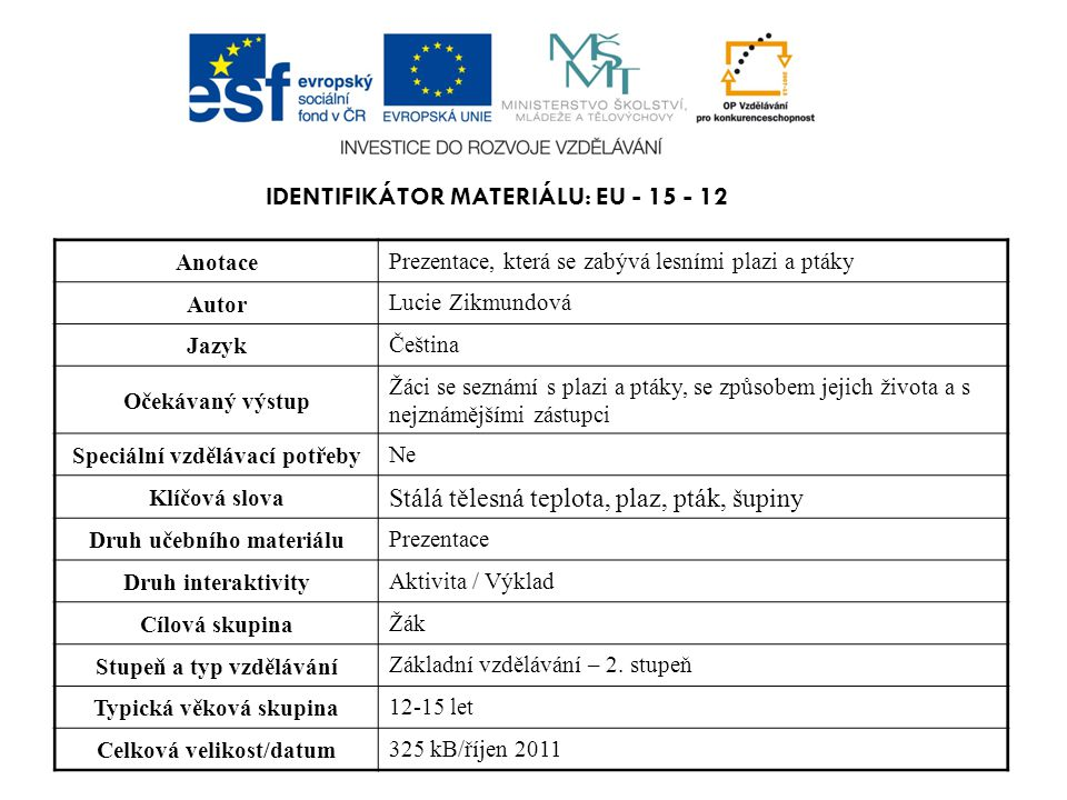 Identifikátor materiálu: EU - 15 - 12