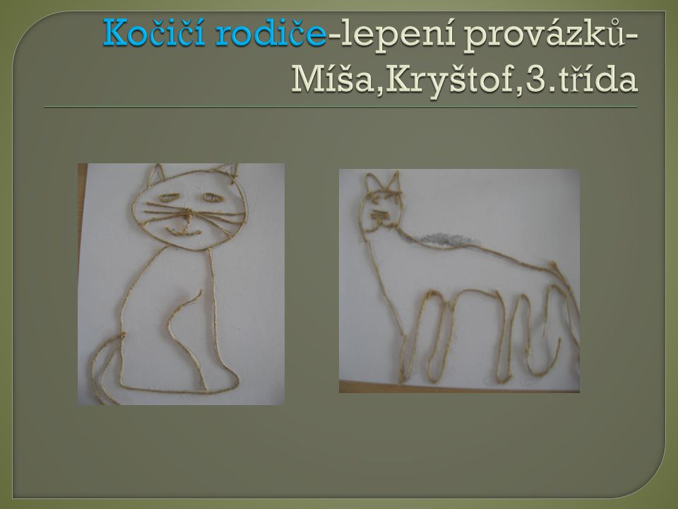 Kočičí rodiče-lepení provázků-Míša,Kryštof,3.třída