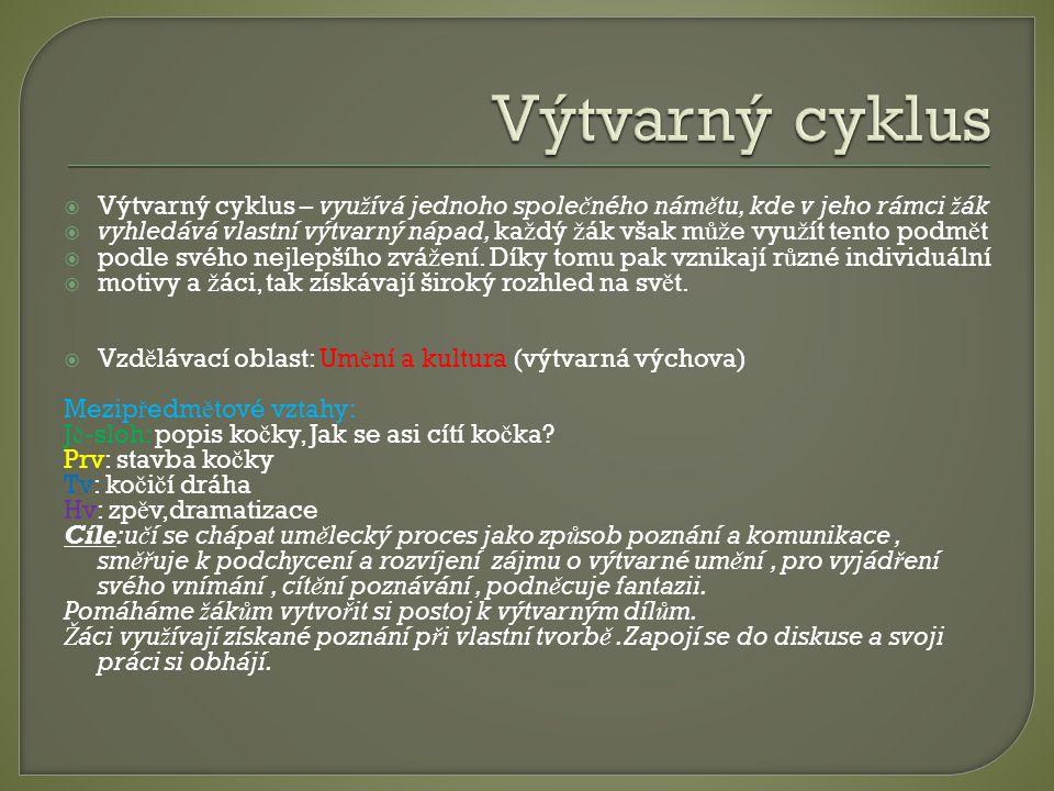 Výtvarný cyklus Výtvarný cyklus – využívá jednoho společného námětu, kde v jeho rámci žák.