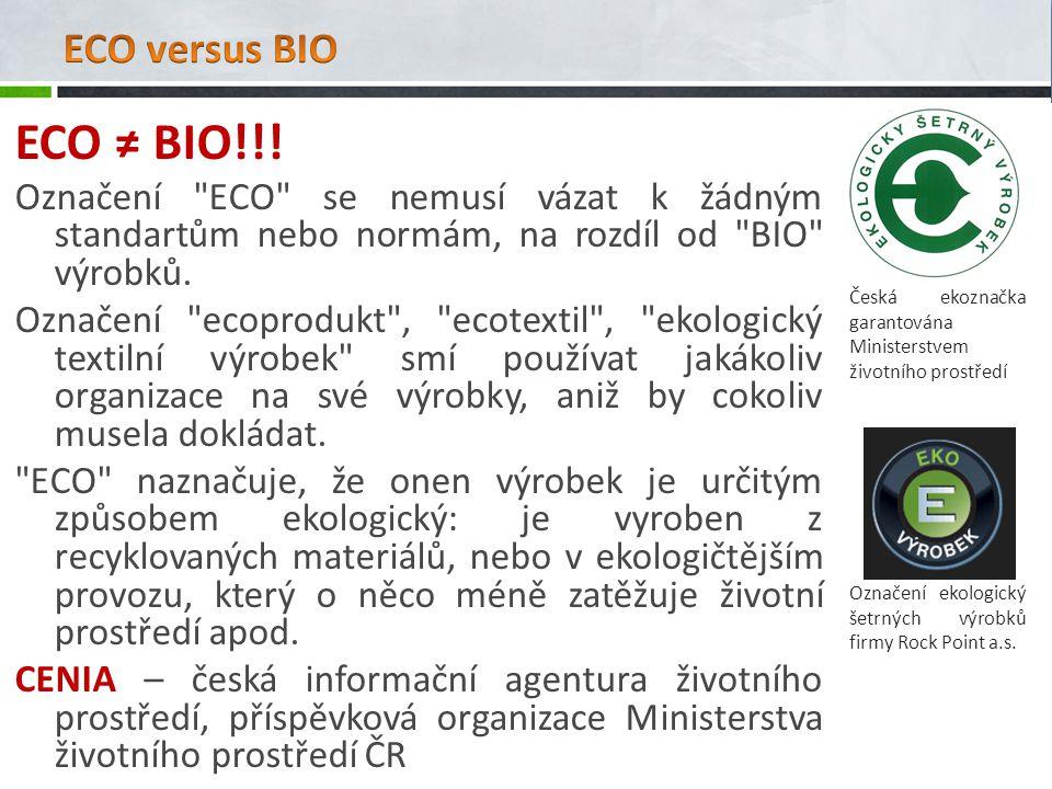 ECO versus BIO Česká ekoznačka garantována Ministerstvem životního prostředí. ECO ≠ BIO!!!