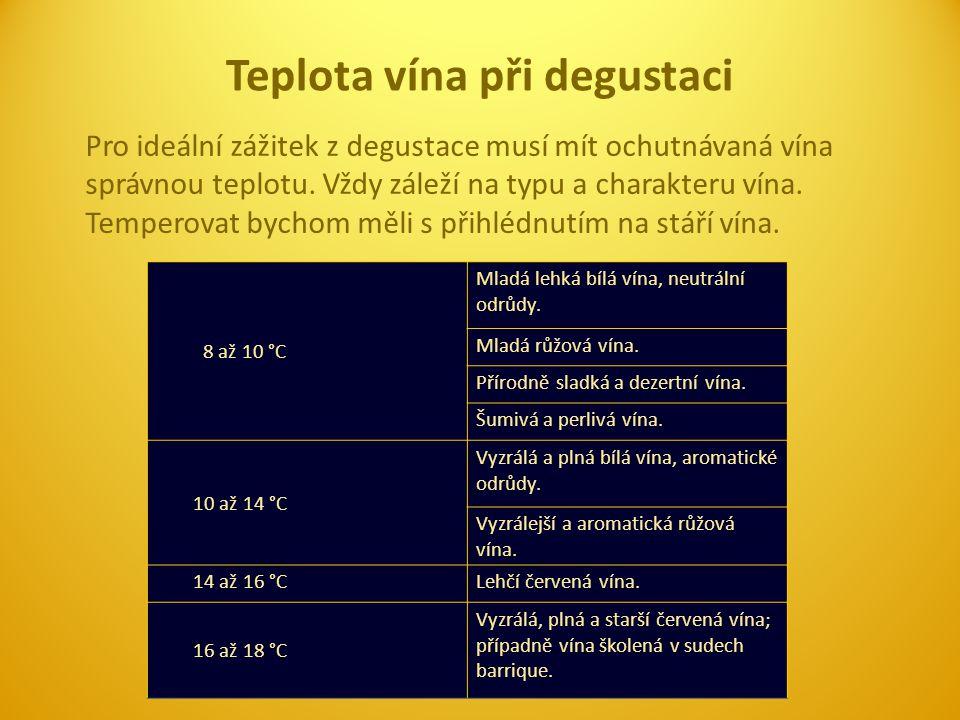 Teplota vína při degustaci