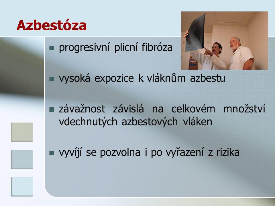 Azbestóza progresivní plicní fibróza vysoká expozice k vláknům azbestu