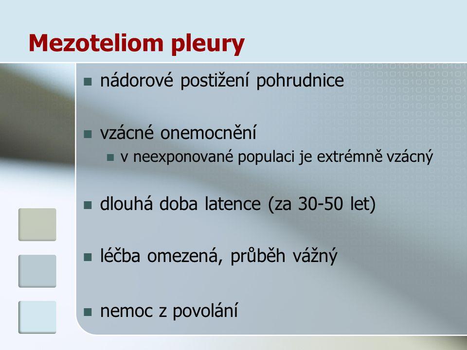 Mezoteliom pleury nádorové postižení pohrudnice vzácné onemocnění