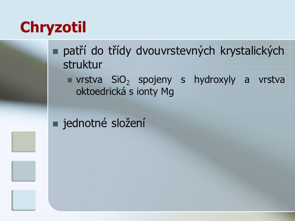 Chryzotil patří do třídy dvouvrstevných krystalických struktur