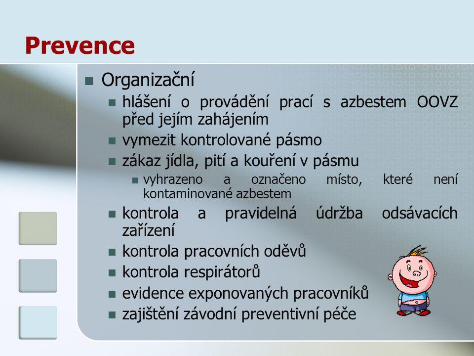Prevence Organizační. hlášení o provádění prací s azbestem OOVZ před jejím zahájením. vymezit kontrolované pásmo.