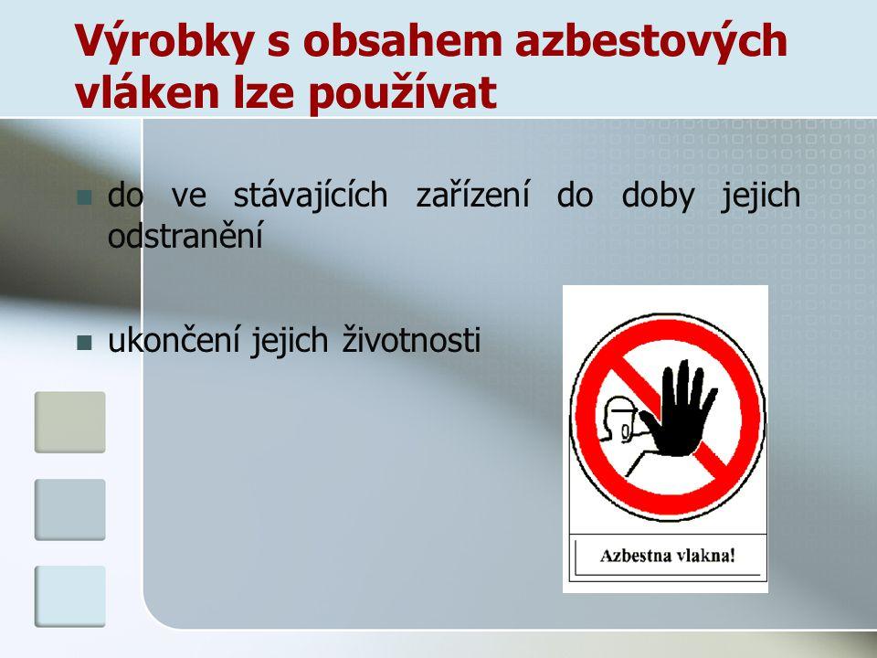 Výrobky s obsahem azbestových vláken lze používat