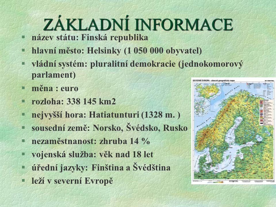 ZÁKLADNÍ INFORMACE název státu: Finská republika