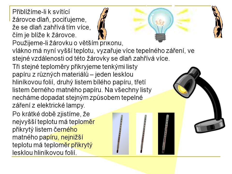 Přiblížíme-li k svítící žárovce dlaň, pociťujeme, že se dlaň zahřívá tím více, čím je blíže k žárovce.